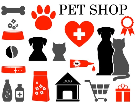 pets:  colorful set of veterinary pet icons