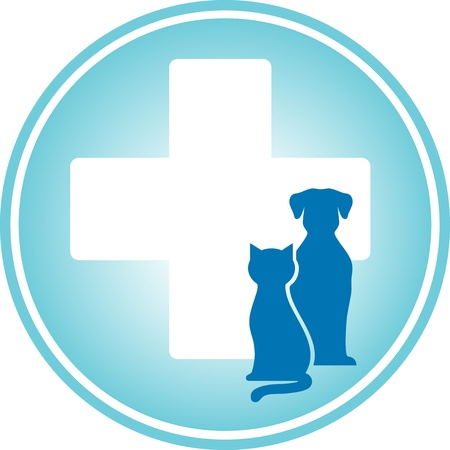 veterinary symbol:  blue veterinary symbol with cross and pets