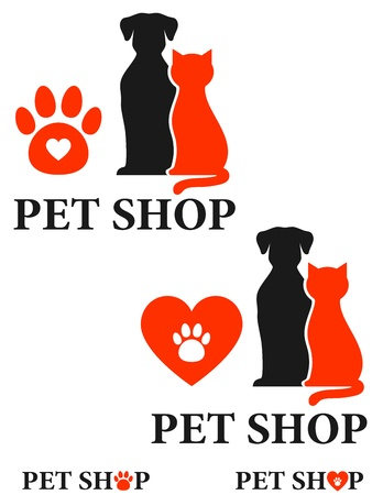 pet shop icon with heart and paw Illustration