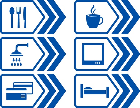 blue modern road set with arrow and icons Vector