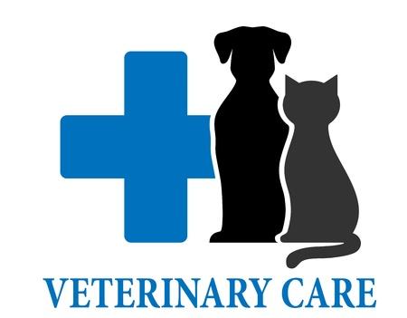 veterinaria: azul símbolo de los cuidados veterinarios con los animales domésticos y la cruz Vectores