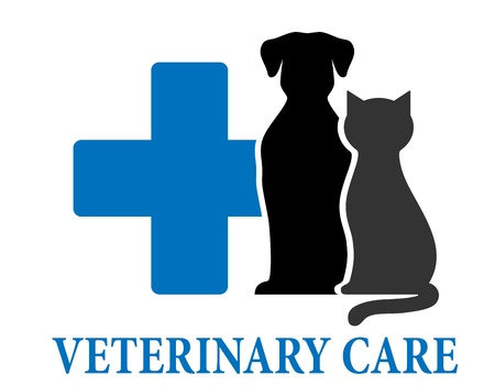 veterinary symbol:  blue veterinary care symbol with pets and cross