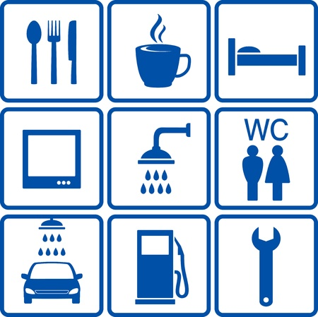 blue set of automotive road signs Vector