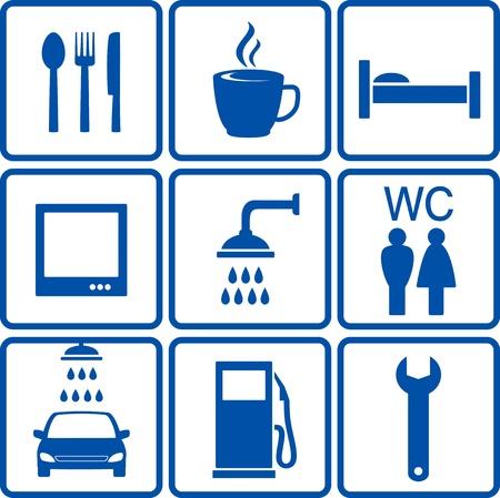 repair shop:  blue set of automotive road signs Illustration
