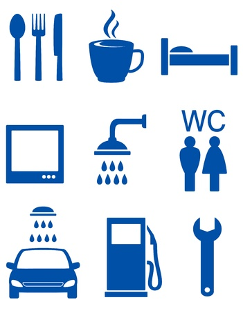 blue road icons with auto service signs Vector