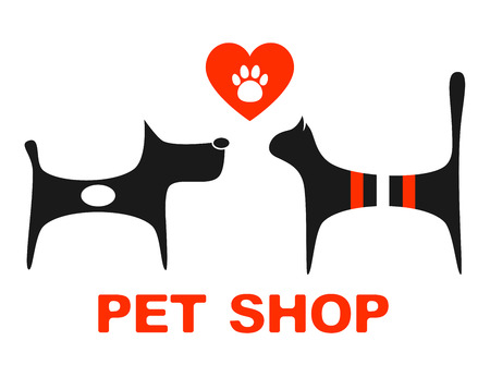pet shop:   pet shop symbol with pets and heart with paw