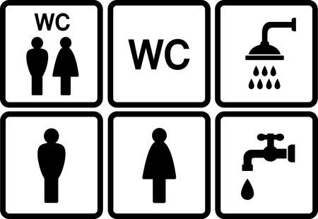 pee pee: set di icone di wc con doccia e rubinetto su sfondo bianco Vettoriali