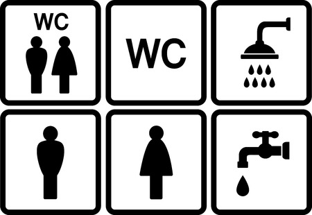 restroom sign: set of wc icons with shower and tap on white background