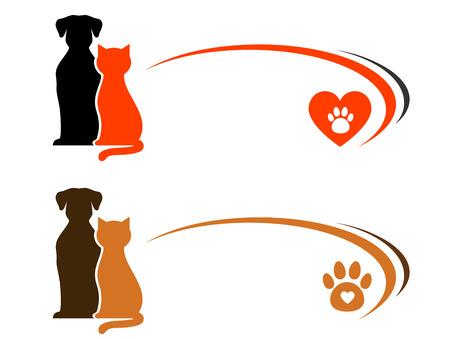 publicidad tienda de animales con el lugar para el texto y el corazón con la pata Ilustración de vector