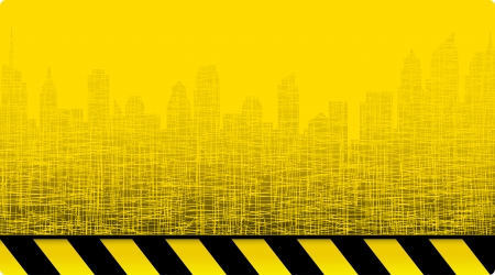 modern city skyline on yellow construction background