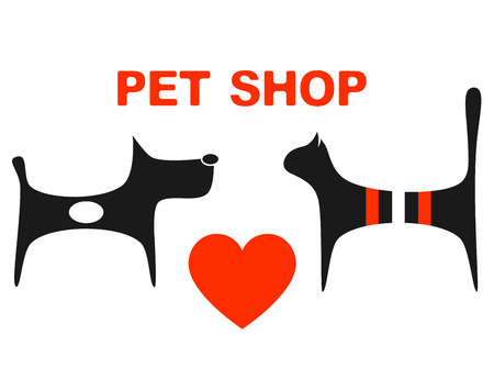 symbol of pet shop with big red heart and pets Vector