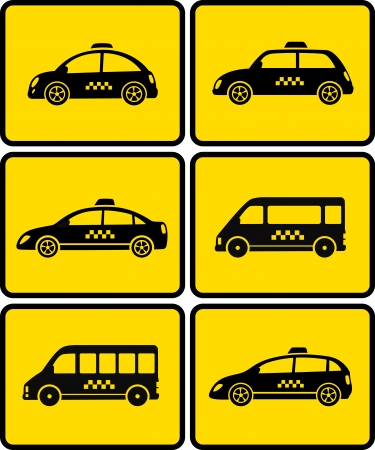 set of cars with taxi symbol on yellow background Vector