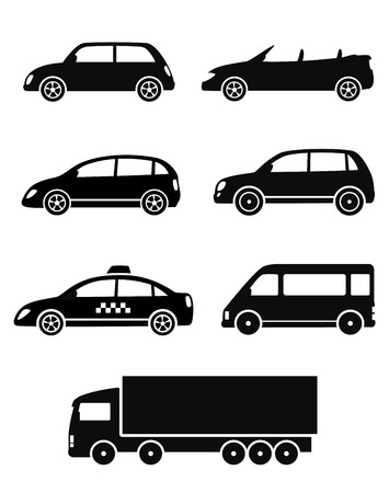 black isolated cars set on white background Vector