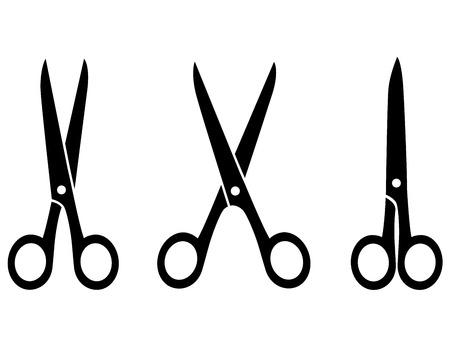 tijeras: tres tijeras negras aisladas en el fondo blanco