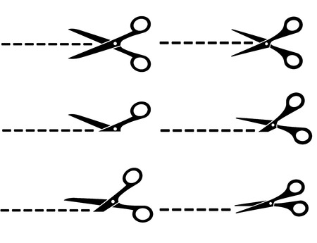 scissors cutting paper: set of black scissors with cut lines on white background Illustration