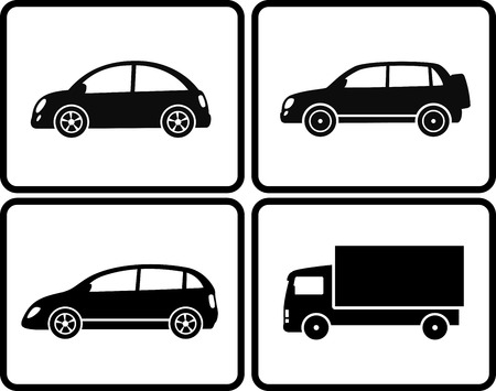 set of isolated black cars silhouette in frame Vector