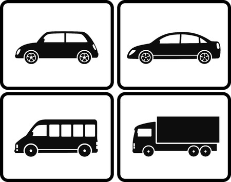isolated black cars silhouettes with buttons on white background Vector