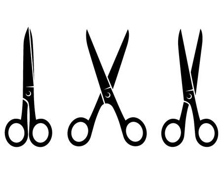 three isolated  black scissors on white background Vector
