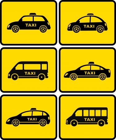 car rent:  automotive set of isolated taxi cars on yellow buttons