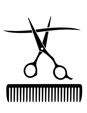 scissors and comb:   hairdresser comb and scissors cutting strand of hair on white background Illustration
