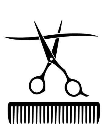 peigne et ciseaux: peigne de coiffeur, ciseaux coupe m�che de cheveux sur fond blanc Illustration