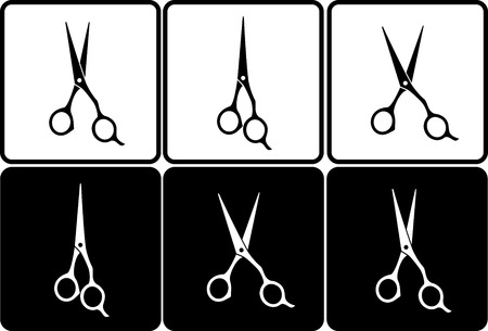 hair dresser:  set of isolated black and white professional scissors in frame Illustration