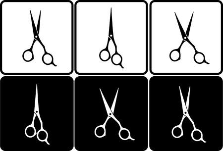 hair dresser:  set of isolated black and white professional scissors in frame Illustration