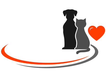 pets silhouettes, red heart and place for text