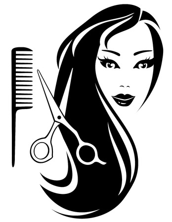 ladenkast: mooi meisje met zwart lang haar en professionele schaar en kam