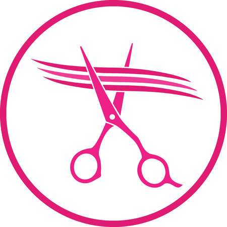pink hairdresser sign with scissors cutting hair strand in frame Ilustração