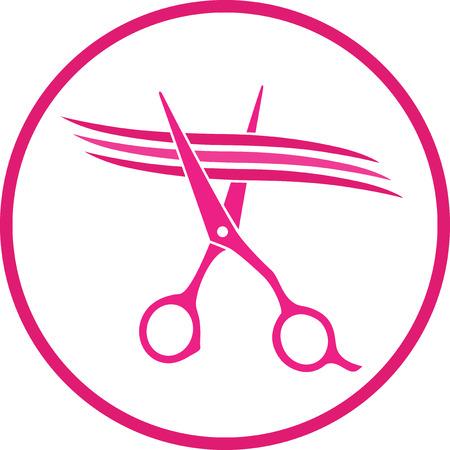 Rosa signo peluquería con tijeras de corte mechón de cabello en la trama Foto de archivo - 23120751