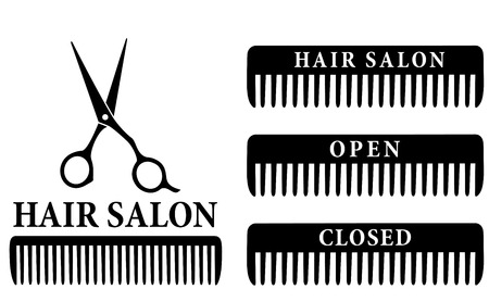 open and closed hair salon sign with black professional scissors and comb Vettoriali