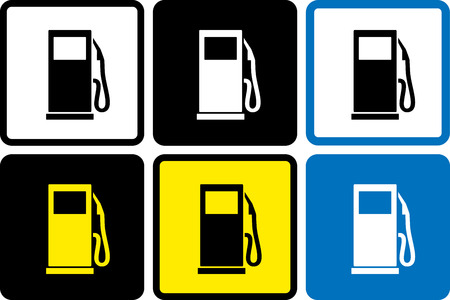 set of colorful gas station icons in frame Vector