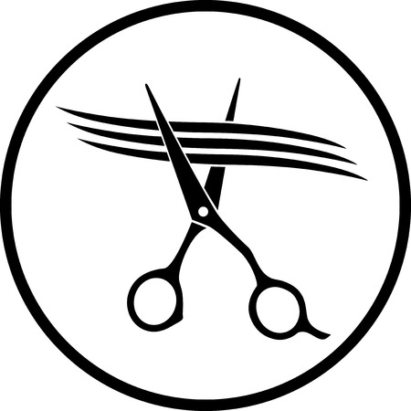 black scissors cutting strand of hair in round frame