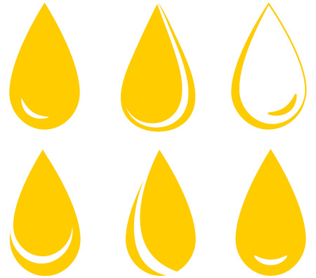 set of yellow oil drops on white background