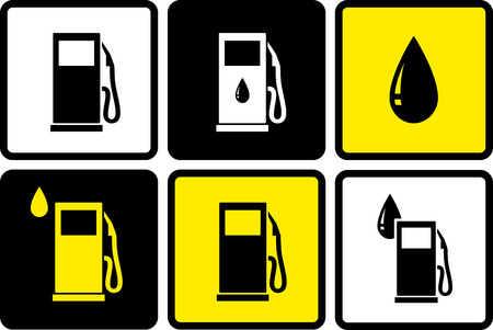 set of colorful gas station icons with fuel drop Vector