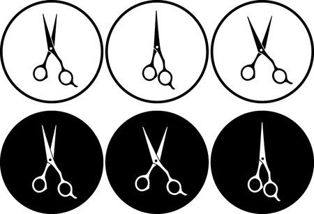 Satz von isolierten schwarzen und weißen professionelle Schere in runder Rahmen Standard-Bild - 23192741