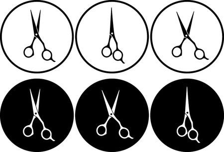 barber scissors: set of isolated black and white professional scissors in round frame