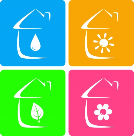 colorful icons of heater, plumbing and landscaping with house silhouette