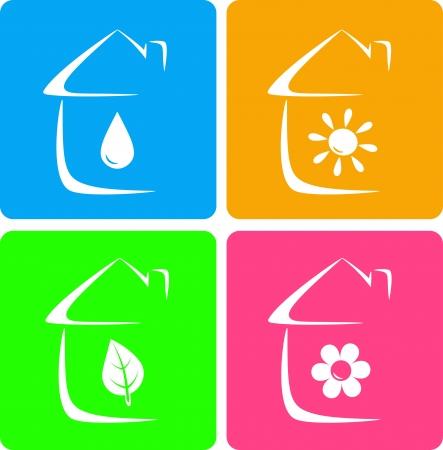 calentador: iconos coloridos de calefacci�n, fontaner�a y jardiner�a con silueta de la casa