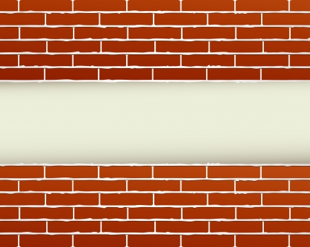 place for text:  construction background with red brick wall and place for text Illustration