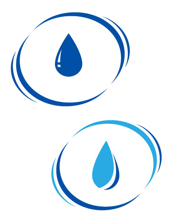 two blue water drops with decorative line on white background