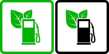 bio fuel: two green gas station icons with green leaves
