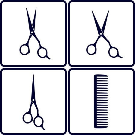 set of hair salon tools with scissors and comb