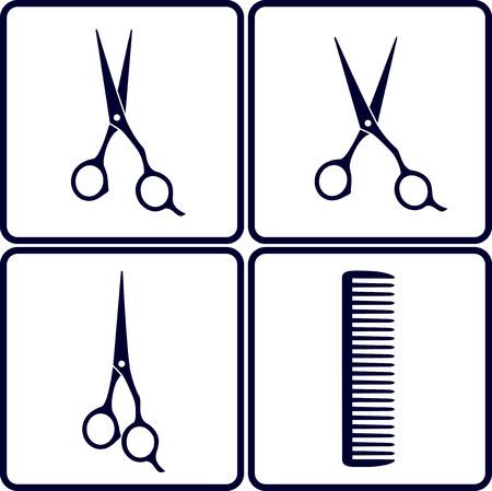 tijeras: conjunto de herramientas de peluquer�a con tijeras y peine Vectores