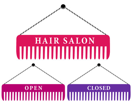 set of hair salon signs with pink comb and text Vector