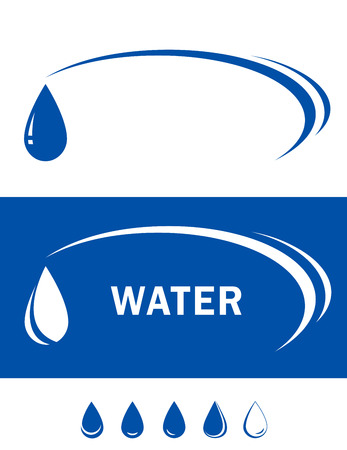 two blue backgrounds with water drop silhouette Vector