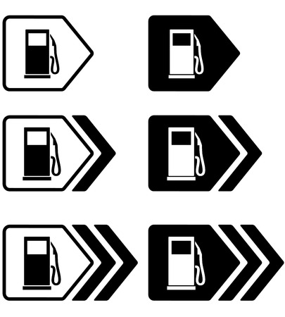 dispenser:   road set of simple gas station pointers with arrow