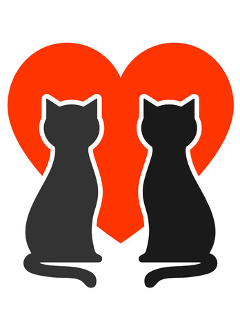 cat grooming:  two cats silhouettes with big red heart Illustration