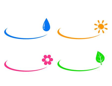 set iconen van waterdruppel, zon, bloem en groen blad en plaats voor tekst